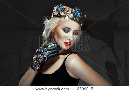 Blonde With Crown His Head And Make-up  Her Face.
