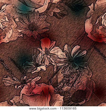 art vintage monochrome watercolor and graphic floral seamless pattern with white and red roses and asters on brown purple background