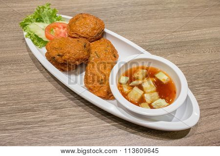 Thai Fried Fish-Paste Balls, Thai Style Fish Cake served with Thai cuc