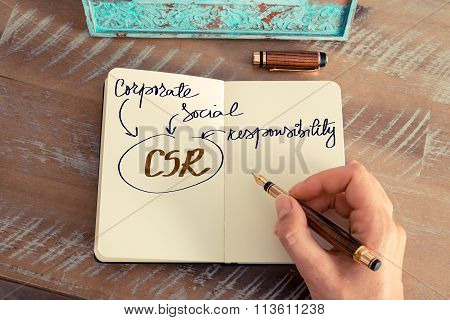 Motivational Concept With Handwritten Text Csr As Corporate Social Responsibility