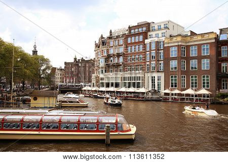 Amsterdam, The Netherlands - August 19, 2015: View On Hotel De L'europe And Amstel Street From Halve