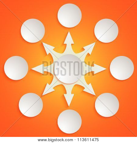 Arrow White Circle Pattern Sequence Management Orange Background