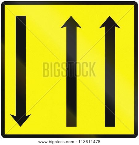 Road Sign Used In Slovakia - Using Temporary Lanes
