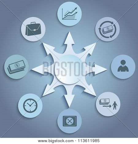 Banking Concept Presentation Template Gray Background Icons