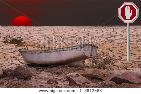 Conceptual image symbolizing a drastic climate changes of our planet and thereby threatening the ecology of nature systems