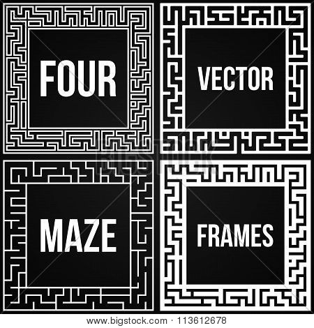 Vector Maze Frame Set. Vintage Maze Border