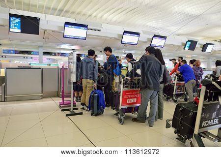 HONG KONG - NOVEMBER 15, 2015: interior of Hong Kong International Airport. It is the main airport in Hong Kong. The airport is located on the island of Chek Lap Kok