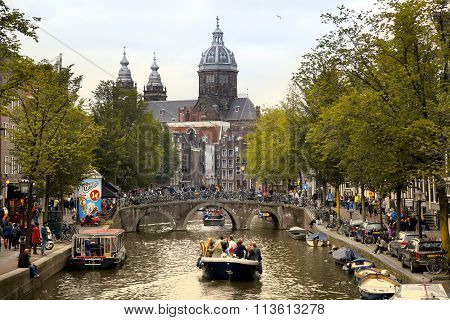 Amsterdam, The Netherlands - August 18, 2015: View On Saint Nicholas Church Or St Nicolaas Kerk Towe