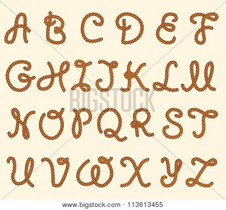 Set Of Rope Font Latin Letters