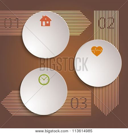 Infographics Template Arrows Brown Background Flyer Layout