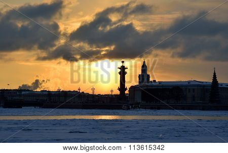 Rostral Columns And Spit Of Vasilyevsky Island.