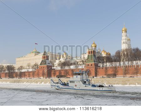 The Ship - The Icebreaker In The Winter In Moscow