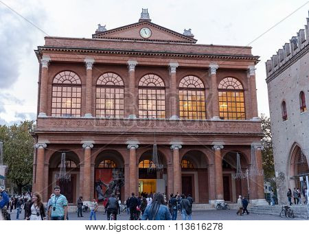 Rimini, Italy - November 03, 2013: Cavour Square And Public Theater Amintore Galli. The Largest Reso