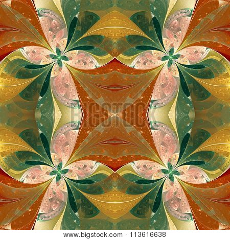Beautiful Symmetrical Pattern In Stained-glass Window Style. You Can Use It For Invitations, Noteboo
