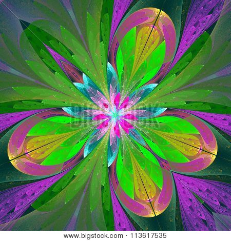 Beautiful Fractal Flower Or Butterfly In Stained Glass Window Style. Element Of Decor. You Can Use I