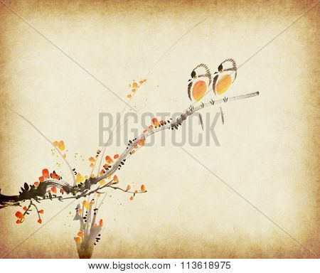 Traditional chinese painting plum bloom and two birds on old Paper Background