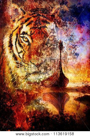 Viking Boat on the beach, and tiger head, collage painting on canvas, Boat with wood dragon.  struct