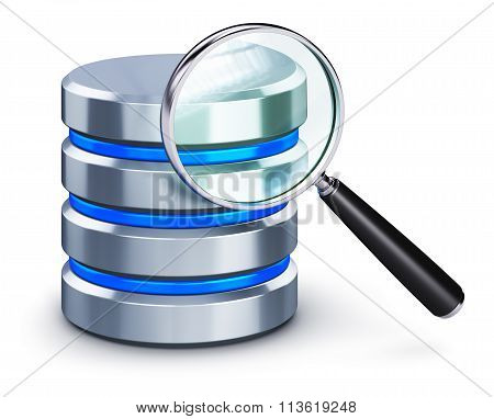 Hard disk icon and magnifying glass