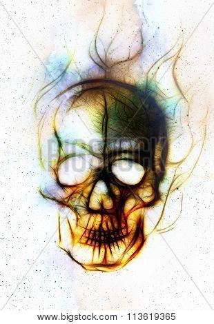 Skull and fractal effect. Color background, computer collage.