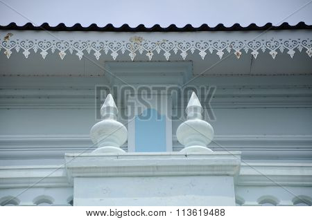 Architectural detail of the Sultan Ismail Mosque in Muar, Johor, Malaysia