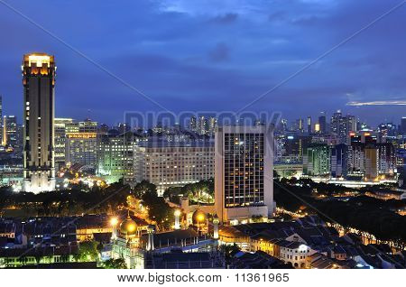 Singapore city at blue hour