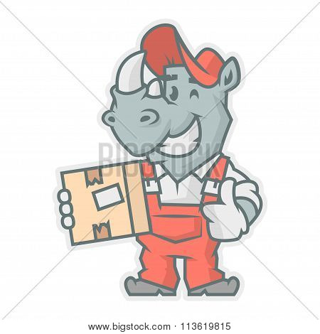 Rhinoceros character holding cardboard box