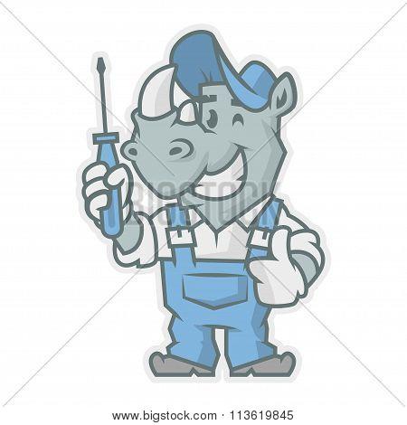 Rhinoceros character holding screwdriver