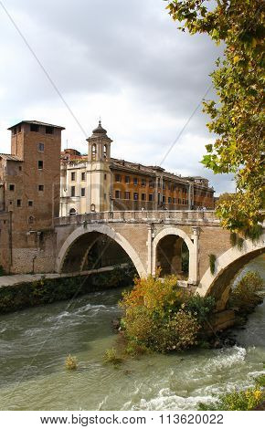 Tiberina Island in the Tiber River in Rome