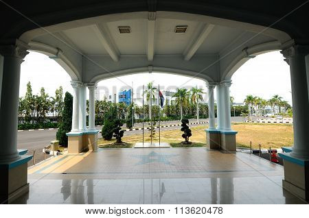 Porch of the Sultan Ismail Mosque in Muar, Johor, Malaysia