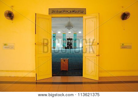 Entrance door of the Sultan Ismail Mosque in Muar, Johor, Malaysia