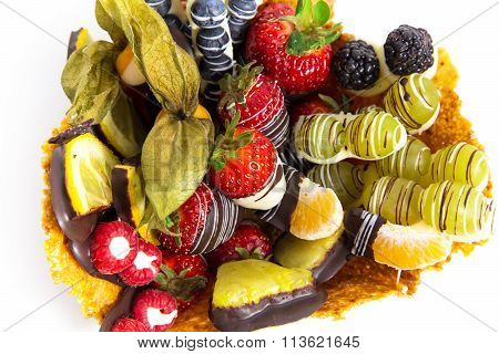 Fitness Dessert: Fruit Salad Covered With Decorative Chocolate