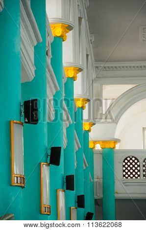 Pillars at the Sultan Ismail Mosque in Muar, Johor, Malaysia