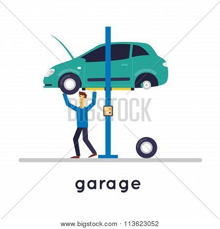 Mechanic repairing a car on a lift