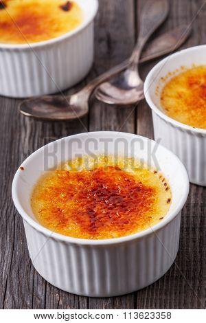 Creme Brulee - Traditional French Vanilla Cream Dessert.