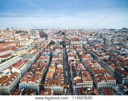 Aerial View of Augusta Street, Baixa Chiado, Lisbon, Portugal
