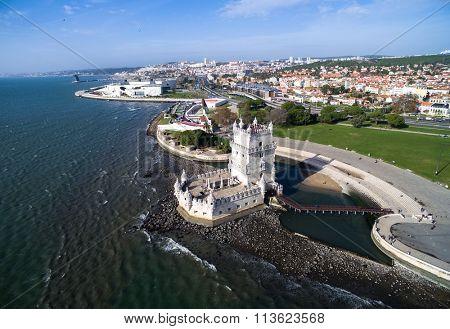 Aerial view of Belem Tower - Torre de Belem - in Lisbon, Portugal