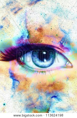 Woman Eye and cosmic space with stars.  abstract color background, eye contact.