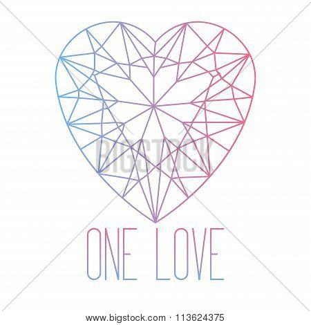 Line Art Heart Stone Cut With Inscription One Love