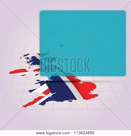 Britain Map With Flag Inside In Perspective View And Speech Bubble