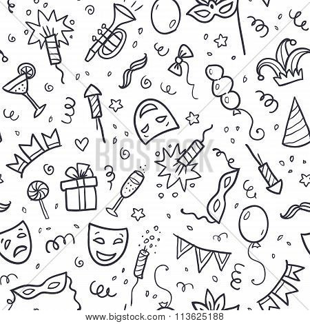 Black carnival symbols in doodle style on white background, seamless pattern