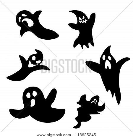 Set Of Six Cartoon Ghosts: Scared And Angry