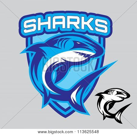 Vector Stylish Emblems For Sports Teams With A Shark
