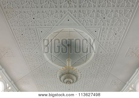 Ceiling design of the Sultan Ismail Mosque in Muar, Johor, Malaysia