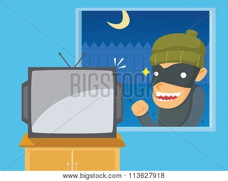 Thief Want To Steal Television