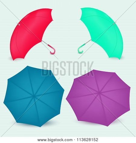 Opened Umbrella Different Colors In Vector