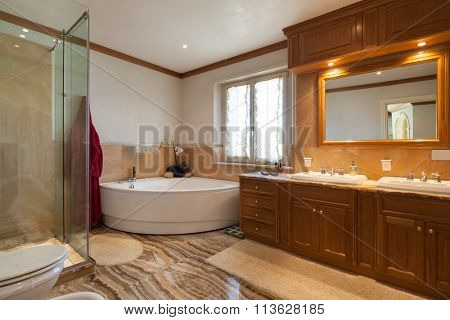 Architecture, classic design bathroom with bathtub and marble floor