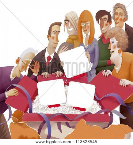 The illustration of a group of people unpacking the box containing blank objects