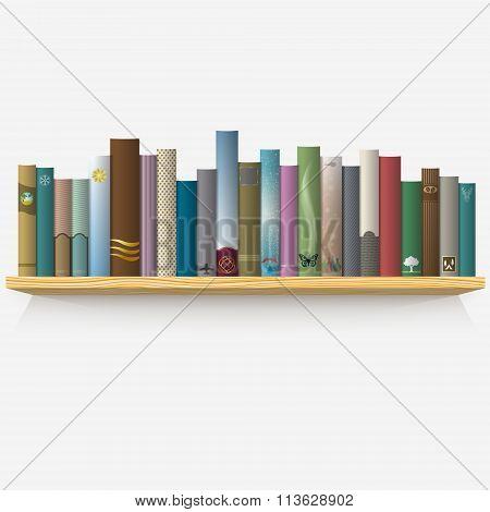 Realistic Books On Wooden Shelf