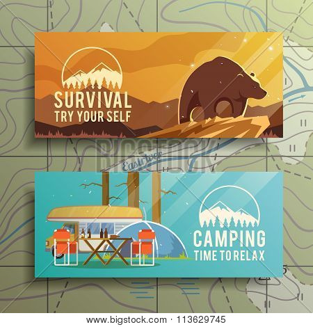 Vector camping web banners