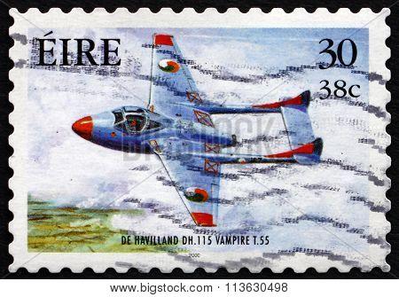 Postage Stamp Ireland 2000 De Havilland Vampire, Military Aircra
